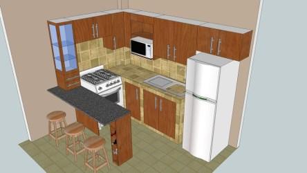 barra cocina desayunadora 3d sketchup