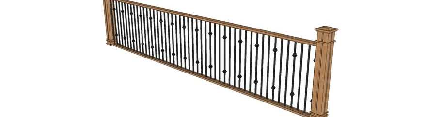 Wood Railing With Metal Spindles 3D Warehouse   Wood Railing With Metal Spindles   Brazilian Cherry Stair   Newel Post   Stained   Traditional   Metal Stair
