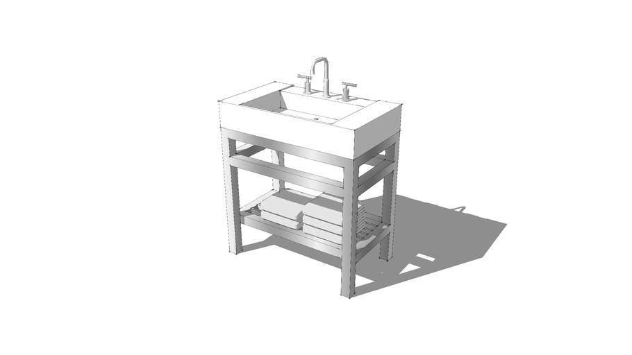 mirabelle console vanity sink 3d