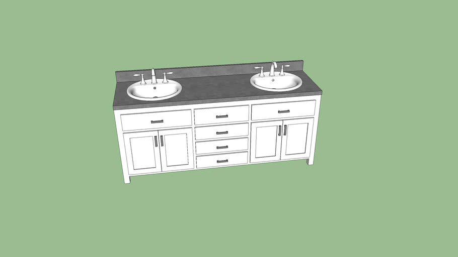 6 white and gray double sink bathroom