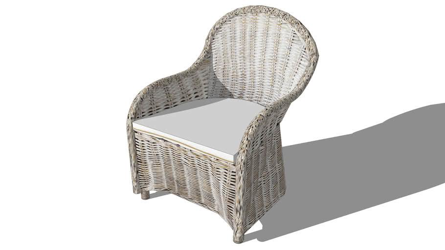 luna fauteuil en rotin blanc grise