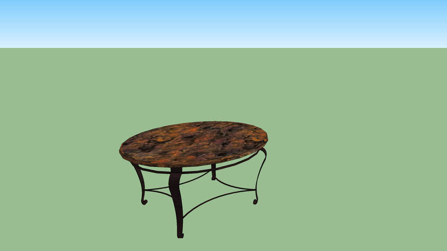 oval coffee table with hammered copper