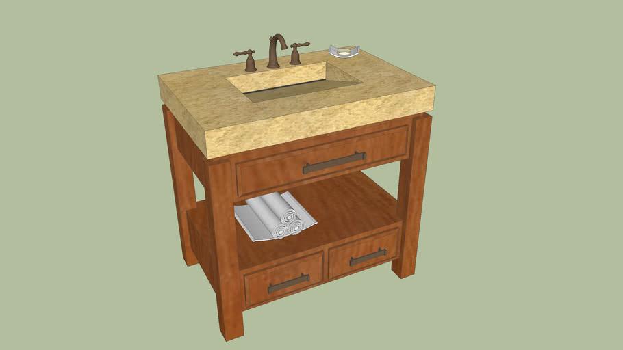 Gold Granite Top Single Stone Sink Bathroom Vanity 3d Warehouse