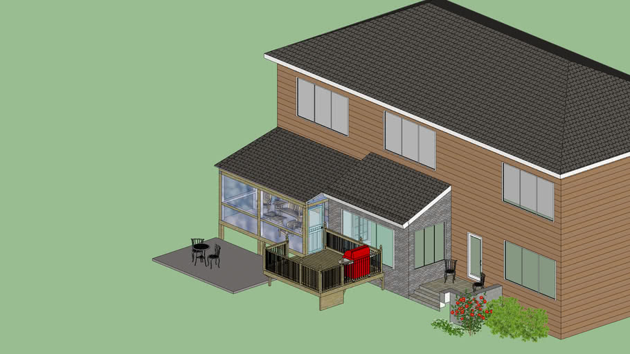 screened porch deck patio combo 3d