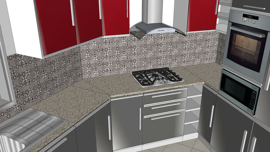 red grey kitchen arabesque tile
