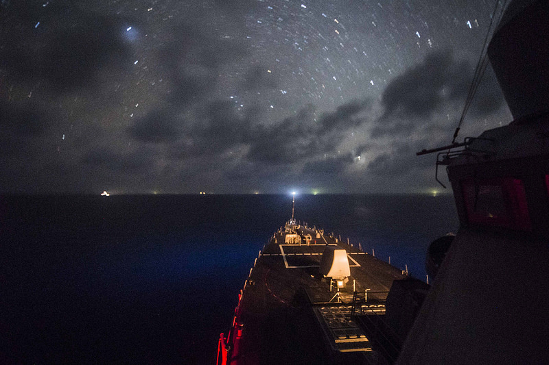 The Arleigh Burke-class guided-missile destroyer U.S.S. Fitzgerald transits the South China Sea on the evening of April 17, 2015. Source: USNavy's flickr photostream, U.S. Government Work.