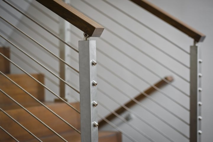 Cable Railing Vs Wood Railing Owings Brothers Contracting | Metal Wire Stair Railing | Handrail | Contemporary | Balcony | Steel Structure | Indoor