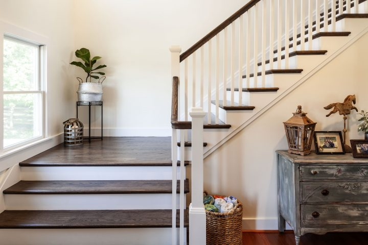 Staircase Design Ideas Owings Brothers Contracting | Dark Wood Stairs With White Risers | Wall | Beautiful Wood | Wooden | Modern | Floor