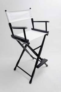 """Gold Medal Directors Chair - Classic Black 30"""" White Canvas"""