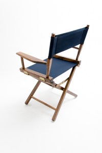 """Gold Medal Directors Chair - Commercial Walnut 18"""" Navy Canvas"""