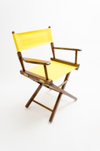 """Gold Medal Directors Chair - Commercial Walnut 18"""" Yellow ..."""