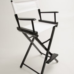 Directors Chair White Poly Cotton Covers For Sale Gold Medal Commercial Black 30 Quot Canvas