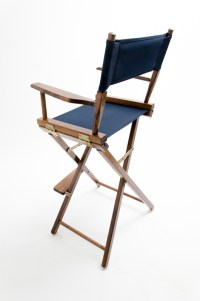"""Gold Medal Directors Chair - Commercial Walnut 30"""" Navy Canvas"""