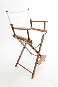 """Gold Medal Directors Chair - Commercial Walnut 30"""" White ..."""