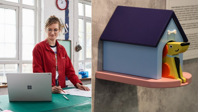 Hattie Newman, a paper artist, works with a Surface Book 2 in her studio