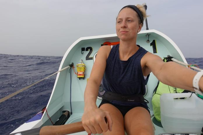 Anna McLean rowing across the Atlantic