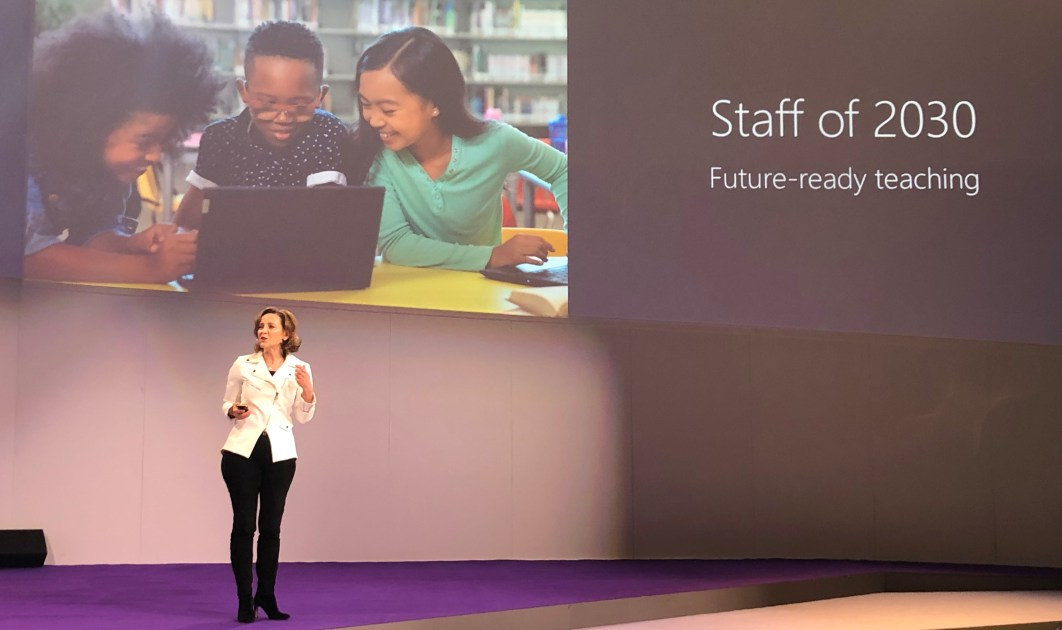 Barbara Holzapfel, General Manager of Education Marketing at Microsoft, speaks on stage at BETT
