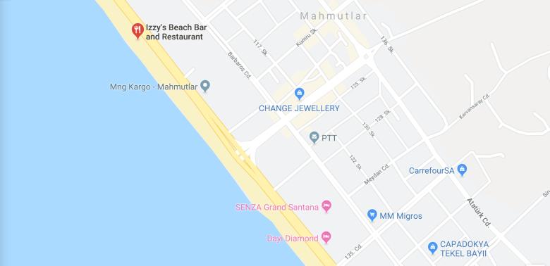 MAP TO IZZYS BEACH IN MAHMUTLAR