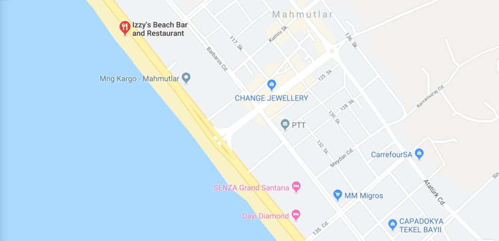 MAP TO IZZYS BEACH IN MAHMUTLAR