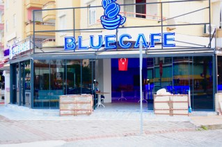 Entrance to Blue Cafe mahmutlar - we love mahmutlar