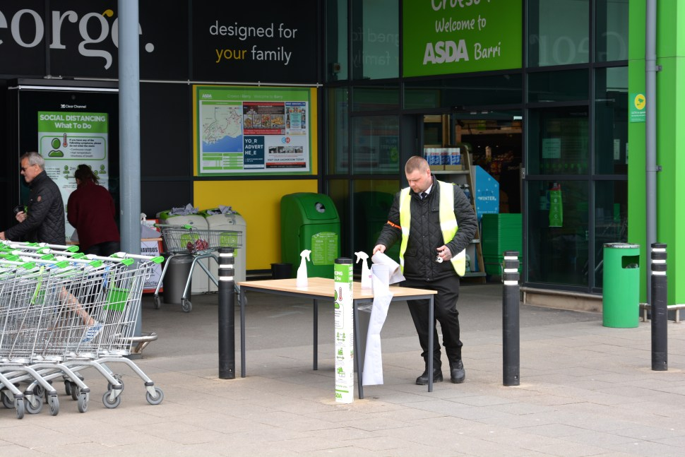 Asda, Barry Waterfront. Ensuring the surfaces are clean due to covid_19