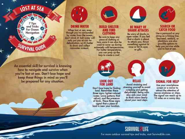 Infographic | Lost At Sea Survival Guide | 7 Tips And Tricks For Ocean Navigation