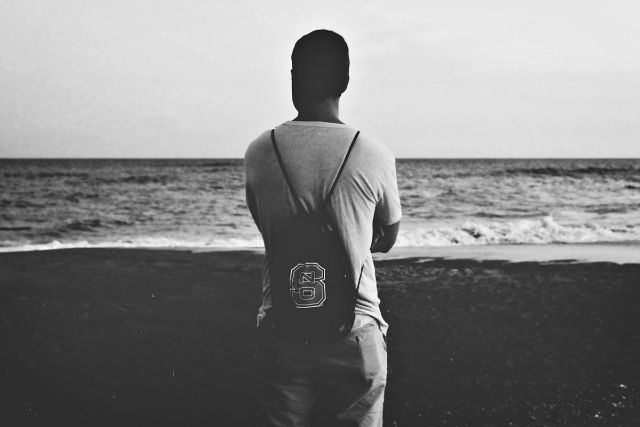 Backview of man black and white portrait | Uses for Paracord That Will Surprise You
