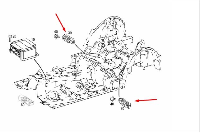 Датчик airbag MERCEDES C-CLASS 2004 S203 271.948 1.8L