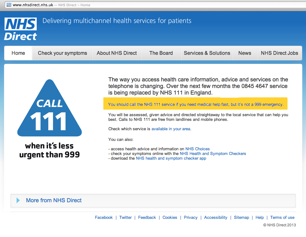 NHS Direct website now offers landing page informing visitors to ring 111 if you need medical