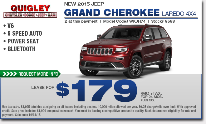 New 2015 Jeep Grand Cherokee Lease Special  Boyertown