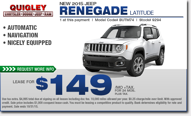 New 2015 Jeep Renegade Specials  Boytertown, Pa