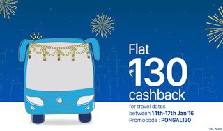 Get Flat Rs.130 Cashback on Online Bus Ticket Booking For All Users (Pongal Specail)