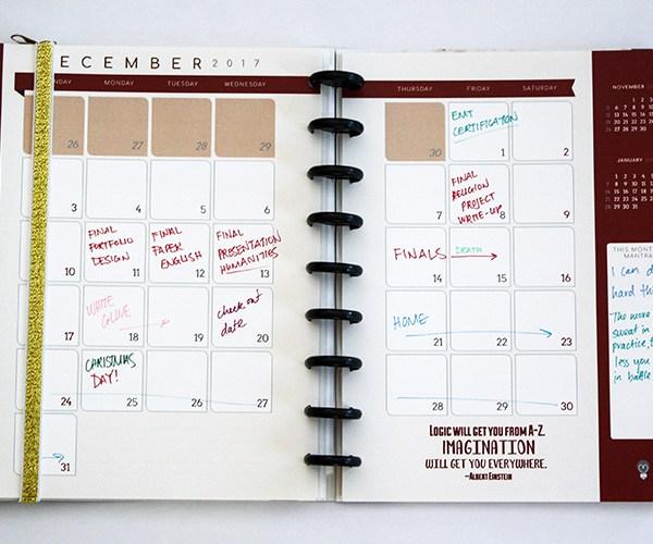 3G Flux Planner Monthly Spread December
