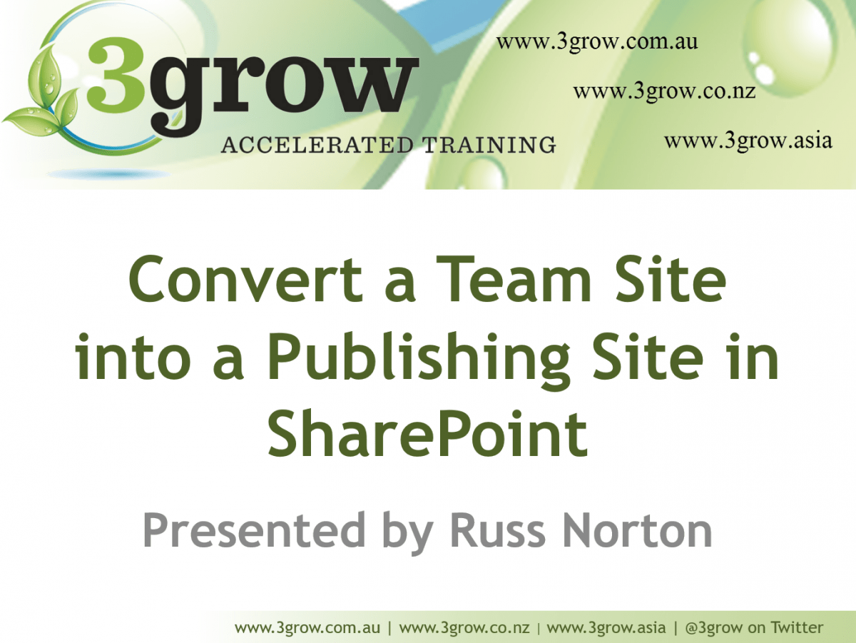 convert team site to publishing slide