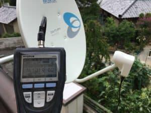 BSアンテナ受信レベルを確認しながらの作業 八幡西区にて