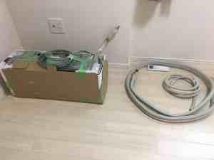 エアコン取り外しのあと、梱包して運搬。 飯塚市にて