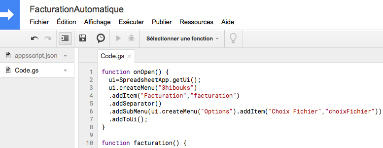 Google Apps Script - Facturation automatique