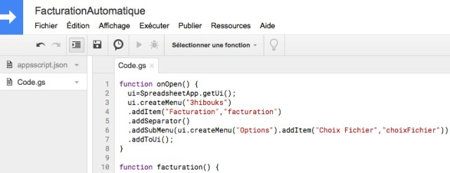 Google Apps Script - Facturation automatique