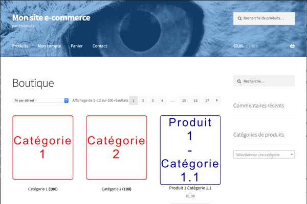 Page d'accueil site ecommerce