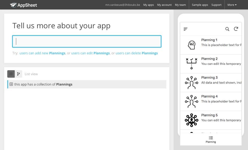 AppSheet idée planning