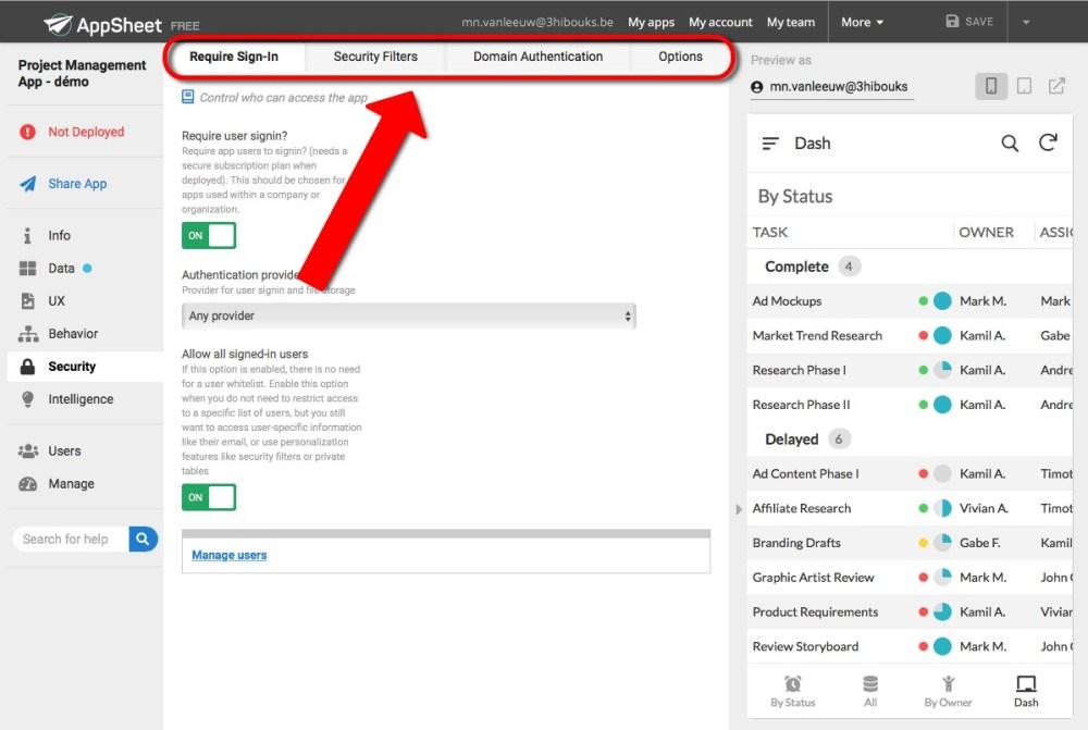 AppSheet modèle pré-défini options de sécurité