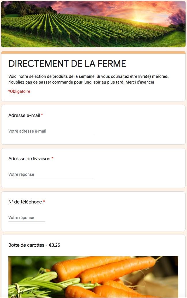 Google Form pour prise de commande en ligne