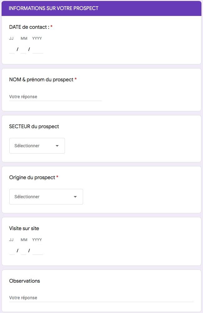 formulaire Google Forms pour l'introduction des données