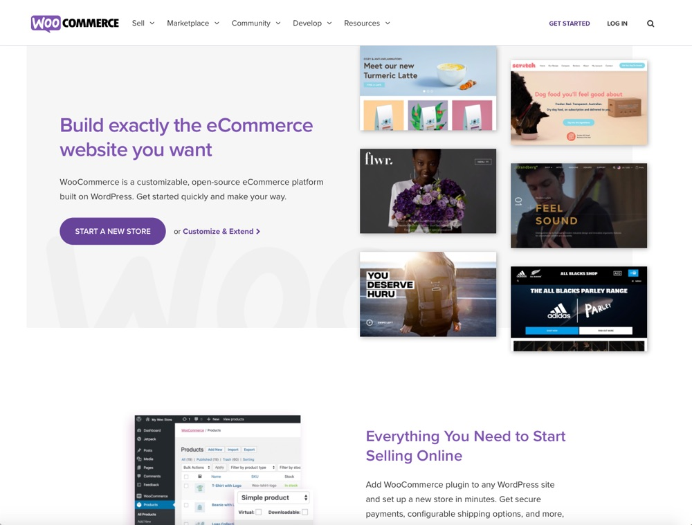 WooCommerce page d'accueil