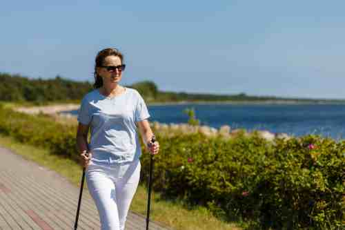 Woman walking outdoors getting exercise