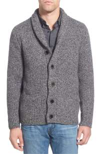 Men'S Grey Shawl Neck Cardigan - Sweater Vest