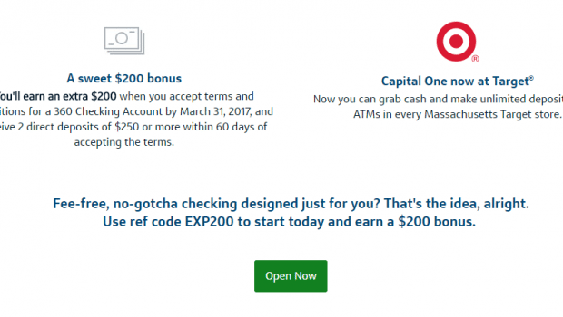 YMMV Capital One 360 200 Nationwide Checking Bonus