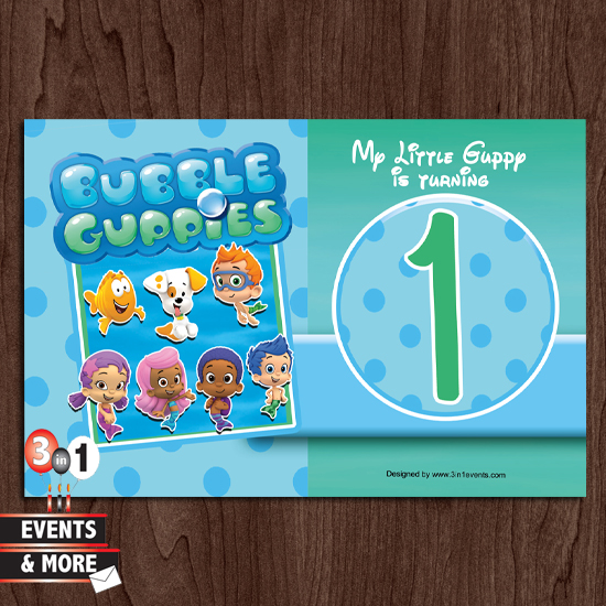 Bubble Guppy 1st Birthday Party Invitation 3in1 Events More – Bubble Guppies Party Invites