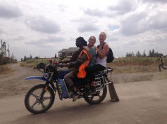 Carly and Ariel on a boda boda
