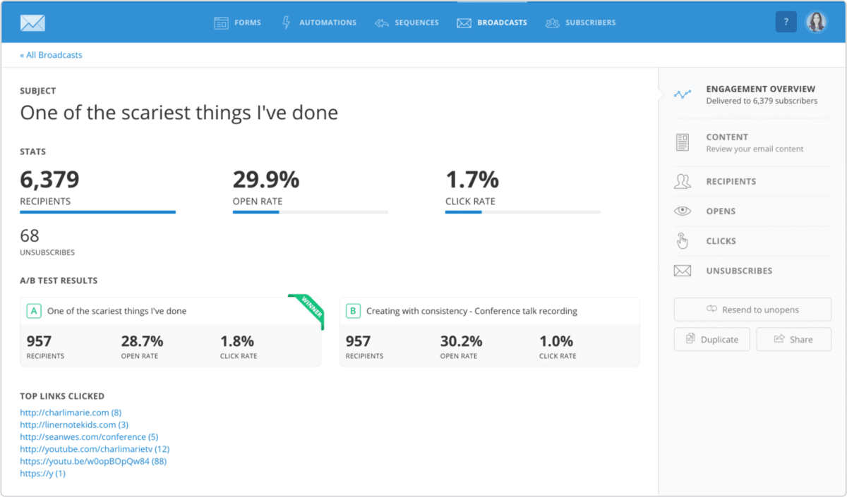 convertkit statistics-a very great dashboard